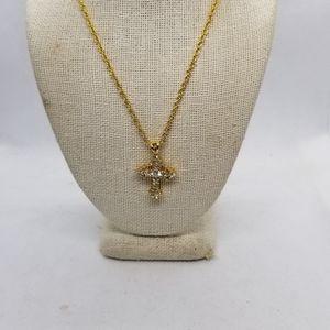 Jewelry - CROSS GOLDTONE W/ CRYSTALS NECKLACE